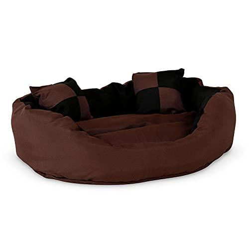 lionto by dibea Cama para perros 4 en 1 cojín para perros cesta para perros con cojín reversible (S) 65x50 cm negro/marrón