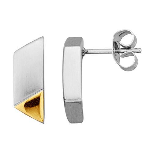 Magnetic Balance Magnetschmuck Ohrstecker Ohrringe Matt und Glanz Edelstahl Vergoldet Magnet 2400 Gauß Länge 1,5cm