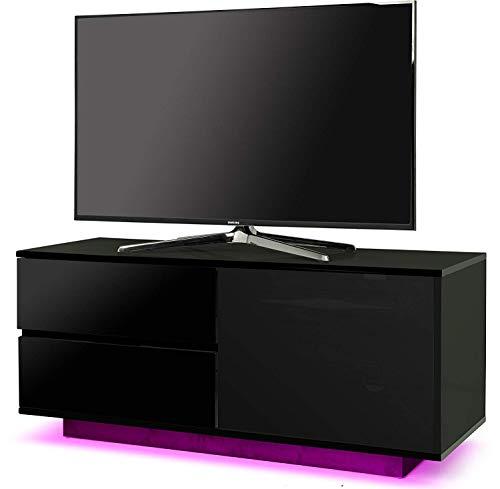 Centurion supporta Gallus ultra telecomando friendly beam-thru Premium laccato nero con 2-nero cassetti e ripiano 81,3- 139,7cm LED/OLED/LCD TV cabinet con 16luci a LED Black Black LED