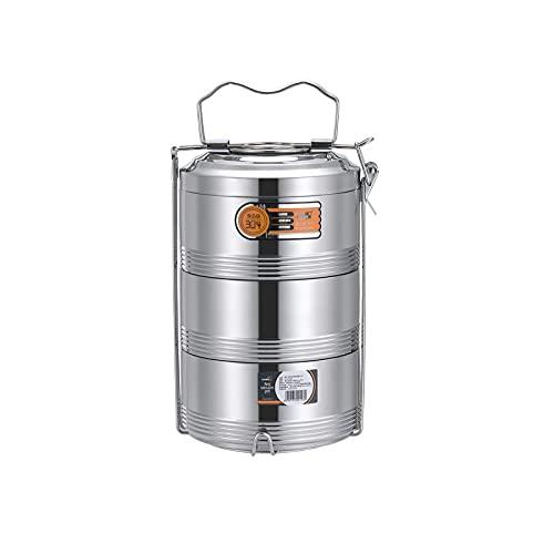 BYETYDFC Thermische Lunch Doos Rvs 2/3/4 Laag zilver Rvs Thermos Lunch Box Thermische Isolatie Voedsel Container…