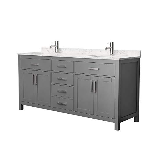 Beckett 72 Inch Double Bathroom Vanity in Dark Gray, Carrara Cultured Marble -
