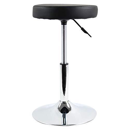 FURWOO - Sgabello rotondo in pelle PU, altezza regolabile e girevole, per reception, pub, cucina, casa, bar, sedia (nero)
