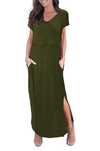 Smallshow Women's Maternity Nursing Dresses Split Long Dress for Breastfeeding Medium Army Green