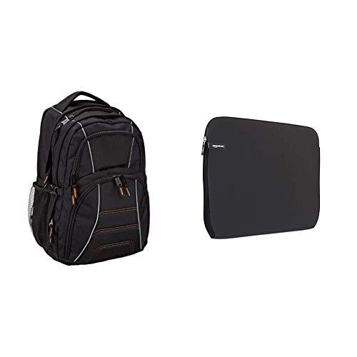 AmazonBasics – Laptoprucksack, geeignet für die meisten 17-Zoll-Laptops (43cm), Schwarz & Schutzhülle für Laptops mit Einer Bildschirmdiagonale von 38,1-39,6cm (15-15,6Zoll)