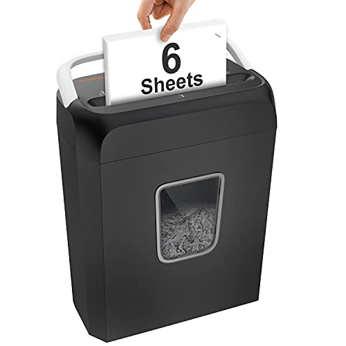 Bonsaii Paper Shredder for Home Use, 6 Sheet Cross Cut Shredder for Small Office Also Shreds CD/Credit Card/Staple with 3.4 Gallons Wastebasket, Document Shredder with Overload and Overheating System