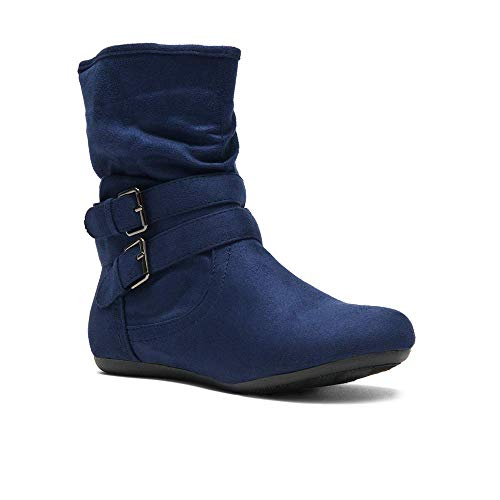 Herstyle Lindell Women's Fashion Flat Heel Calf Boots Side Zipper Slouch Ankle Booties Navy 9.0