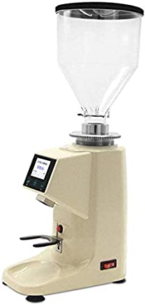 AMAZACER Electric Quantitative Coffee Grinder Low Temperature Grinding Coffee Beans LCD Panel Espresso Coffee Grinder Machine Adjustable Grinding Thickness Bean Warehouse Capacity 1.5L,Beige