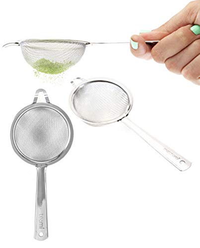Teami Very Fine Mesh Strainer - Easy to Clean 3 Inch Durable Stainless Steel Mini Sifter - Best for Matcha Green Tea Powder or Cocktail - Dishwasher Safe