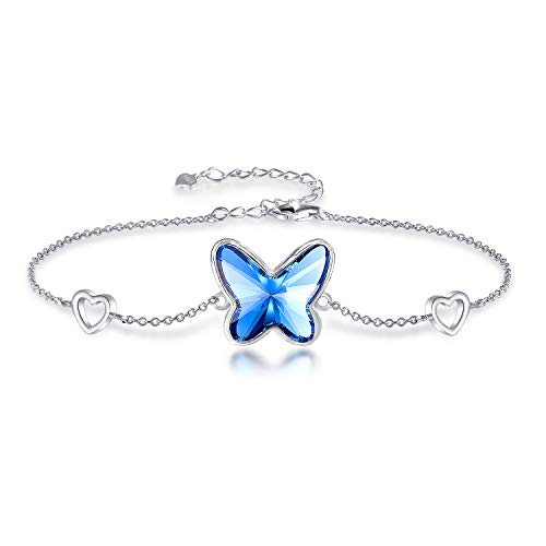 GEORGE · SMITH Pulsera de plata para mujer con cristales de Swarovski, pulsera de mariposa para regalo para mamá, mujer, Navidad, cumpleaños