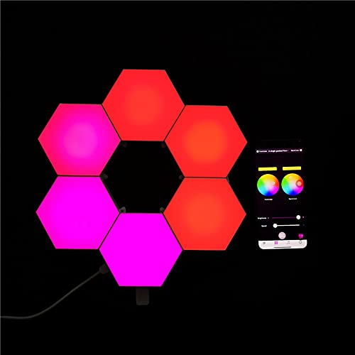 Hourongw 6 cps Hexagonal pared luz modular aplique luces creativas geometría Asamblea LED noche luz moderna lámpara de pared adecuada para sala de estar, dormitorios, amantes de bricolaje, regalos 1 W