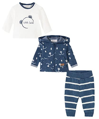 Mayoral 2693 - Juego de 3 piezas para chico: camiseta, pantalón y sudadera en tonos azul vaquero, azul, 9 mes