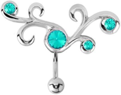 Aqua lt Blue Tribal Swirl Filigree Vine Reverse Top Mount Belly Button Navel Ring Piercing bar Body Jewelry 14g