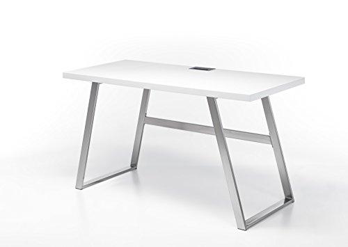 Robas Lund Schreibtisch 140 cm breit Computertisch weiß matt, Gestell Edelstahl gebürstet, BxHxT 140x75x60 cm