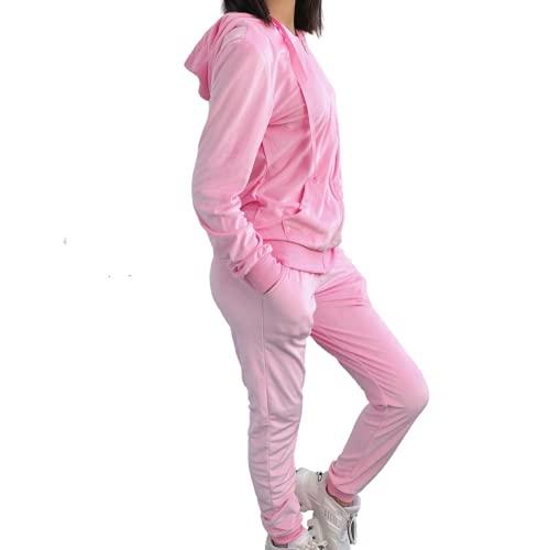 Emma & Ashley Design Chándal para mujer, conjunto de 2 piezas, de terciopelo, con capucha, manga larga y pantalones sueltos, S-XXL, fucsia, XL