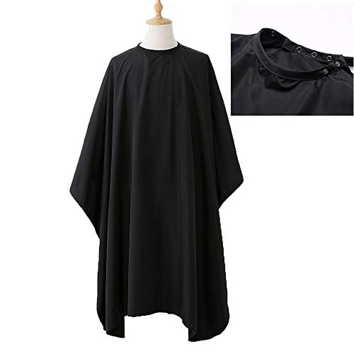 "Borogo Professional Hair Styling Cape Nylon Haircuting Salon Cape Gown Hair Salon with Snap Closure - 50"" x 60"" Black"