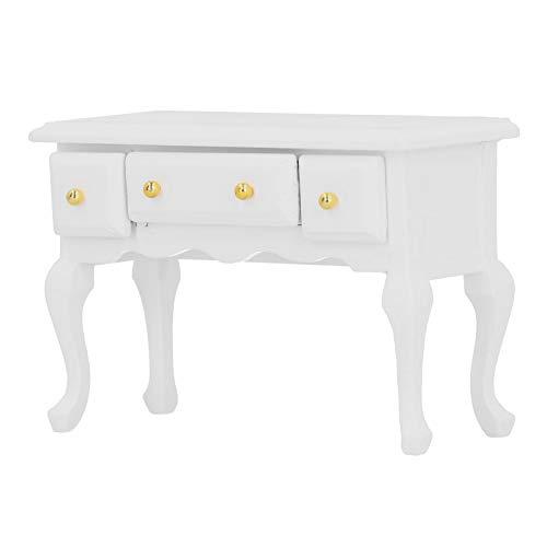 Pssopp Mesa de casa de muñecas 1/12, Mini Escritorio de Estudio simulado, Mesa simulada con Modelo de Muebles de cajón, Accesorio de decoración de Juguete de casa de muñecas