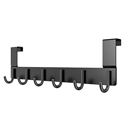Dohomai Türgarderobe Schwarz mit 6 Haken - Türhaken Zum Einhängen - Kleiderhaken Tür für Badezimmer Türhakenleiste Moderne Tür Garderobe - Türaufhänger für Perfekten Halt Bis 2cm Türfalz
