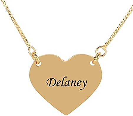 Quality.A Personalized Name Necklace Tiny Sterling Silver Necklace Engraved Heart Necklace
