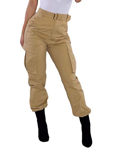 Pantalones Cargo de Las Mujeres, Pantalones Holgados Casuales del Entrenamiento del Basculador de Cintura Alta del Color sólido al Aire Libre con los Bolsillos (Khaki, XXL)