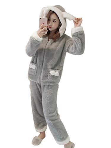 Minetom Damen Mädchen Herbst Winter Pyjama Schlafanzug Set Flanell Zweiteiliger Nachtwäsche Süßes Tier Kaninchen Warm Plüsch Reißverschluss Kapuzenpullover und Hosen G Grau 38