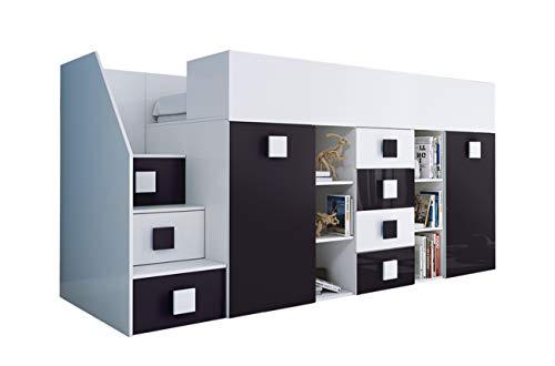 KRYSPOL Etagenbett für Kinder TOLEDO 3 Stockbett mit Treppe, Schreibtisch, Bettkasten (Weiß/Weiß Glanz + Schwarzer Glanz, Seite: links)