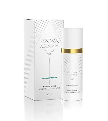 Axame - Nachtcreme Premium Feuchtigkeitsspendende Hypoallergene Anti-Aging Anti-Faltencreme mit Hyaluronsäure 50ml