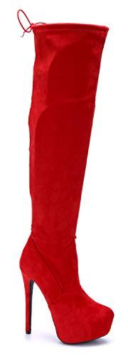 Schuhtempel24 Damen Schuhe Plateau Stiefel Stiefeletten Boots rot Stiletto schlupf 15 cm High Heels