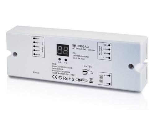 YULED SR-2303AC 230V DALI Controller 2-Kanal Dimmerpack 2x1,2A Adresse einstellbar für Glühhlampen, Halogen und LED Leuchtmittel