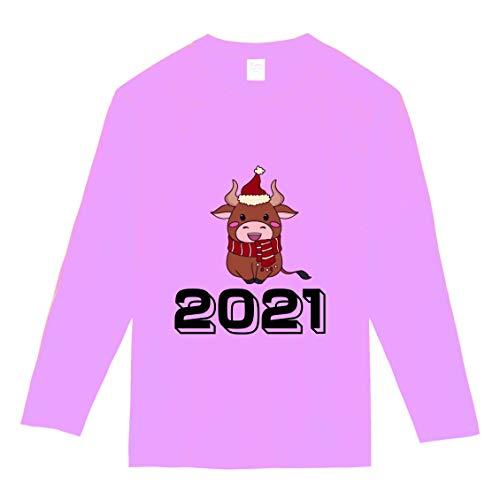 【】選べる6色 2021 新年 丑年 おもしろ tシャツ Tシャツ メンズ レディース キッズ 長袖 子供 大人おしゃれ t shirts tsyatu オリジナル お正月 年賀 年末 パーティー ギフトプレゼント プリントTシャツlt102-s08 (ピ