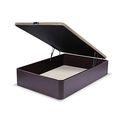 duehome Canapé somier abatible Dormitorio, Base tapizada en Tejido 3D, Beige, Cama de Color wengue, Modelo Luxury, Medidas: 90 x 190 cm de Largo, MDF