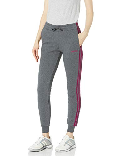 adidas Women's Essentials Long Sleeve Fleece 3-Stripes Jogger, Dark Grey/Power Berry, L