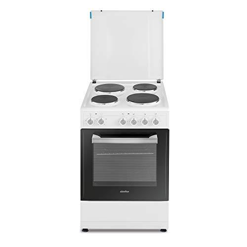 Simfer SMF-FS 4005 Standherd | 50 cm | 48 Liter | Elektrokochfeld | 4 Kochplatten | Grillfunktion | Emaille-Abdeckung | Zweifach verglaste Backofentür