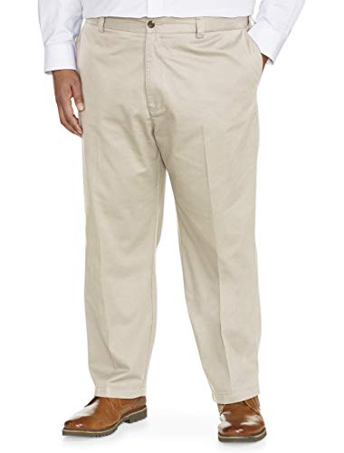Amazon Essentials Men's Big & Tall Loose-fit Wrinkle-Resistant Flat-Front Chino Pant fit by DXL, Khaki, 44W x 30L