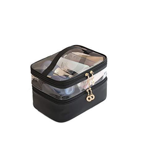 Sac cosmétique Transparent Haute capacité Multicouche Sac de Rangement cosmétique imperméable à l'eau Portable Grand boîtier cosmétique (Color : Black)