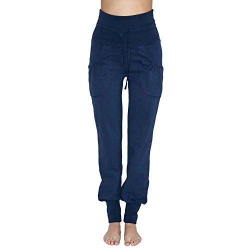Leela Cotton Damen Yoga-Hose Bio-Baumwolle/Elasthan, Navy, Gr. L