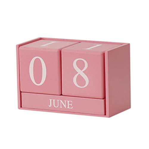JVSISM la DecoracióN NóRdica de la Sala de Estar del Calendario de Madera DecoracióN Hogare?A DecoracióN de Calendario Perpetuo Accesorios de la Tienda de Ropa Accesorios-Rosado