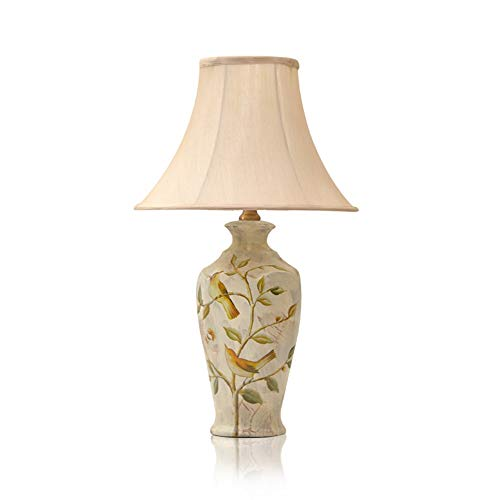 SPNEC Lámpara de mesa de cerámica-Nuevo chino pintado azul Patrón de cerámica lámpara de mesa Big Belly Arte Blanco Modelo de la sala de decoración de interior Lámpara de mesa