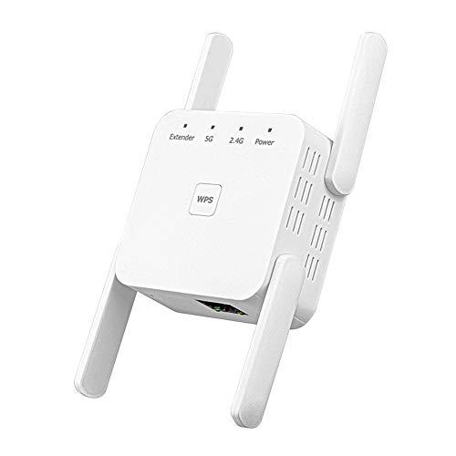 Extensor de WiFi, Amplificador de WiFi de Banda Dual 2,4 y 5 GHz 1200Mbps, Amplificador y repetidor de señal inalámbrica, con Puerto RJ45, Enchufe de Pared del Puerto de Red(EU)
