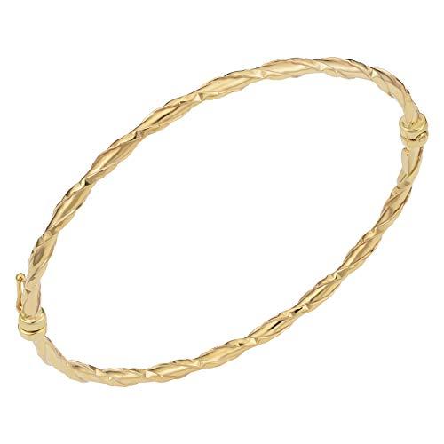 Kooljewelry 10k Yellow Gold Hammered Finish Wrap Around on High Polish Bangle Bracelet