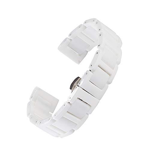 Beauty7 14mm/16mm/18mm/20mm Cerámica Correas de Relojes para Regalo Mujeres Hombres Hebillas Pulsera Watchband Watch Banda Impermeable Trabajo Formal Bracelet Negro Blanco Herramientas para Relojes