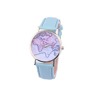 Fenkoo Orologio da polso unisex, modello cartina del mondo, mappa del mondo d'epoca, da donna, premium, in similpelle, d'annata, Leicht Blau