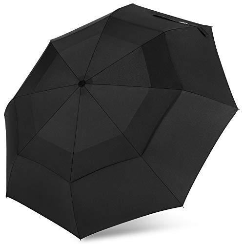 G4Free Compact Travel Umbrella with SAFE LOCK Double Canopy Windproof Auto Open Close Folding Umbrella(Black)