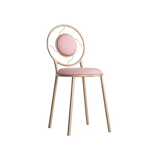 DY Barkrukken Dongy Minimalistische Moderne Dressing Chair, Koffie Melk Thee Lounge Stoel, IJzeren Eetstoel Terug 38cm*45cm*83cm (kleur : PINK)
