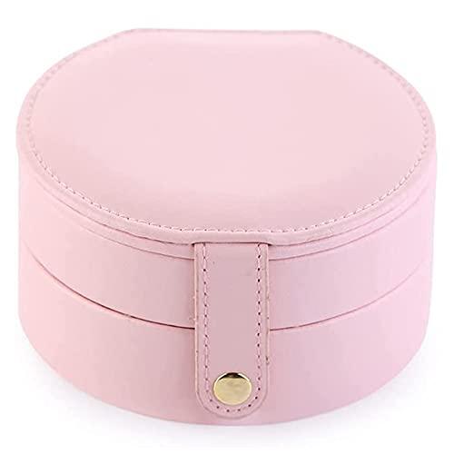 QIUWENSS Mini Joyero De Creatividad De Doble Capa, Estuche De Viaje Portátil De Cuero PU, para Anillos/Pendientes/Collares/Pulseras, Regalo Ideal para Mujeres Niñas Novias Esposas (Color : Pink)