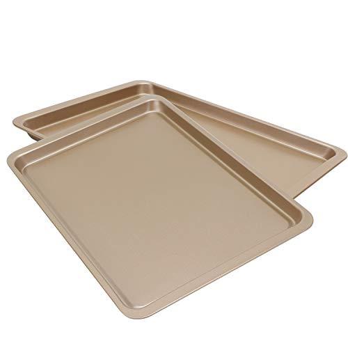Baking Sheet 10 x 14 Inch, Beasea 2 Pack Nonstick Carbon Steel Cookie Sheet Pan Oven Baking Pans Baking Tray Rimmed Baking Pan - Gold