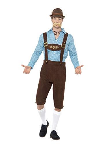 SMIFFYS CostumeFesta della Birra,Blu e Marrone,con Camiciaed Eco Lederhosen scamosciat Smiffy's, Colore Blu & Marrone, XL-Dimensione 46'-48', 49660XL