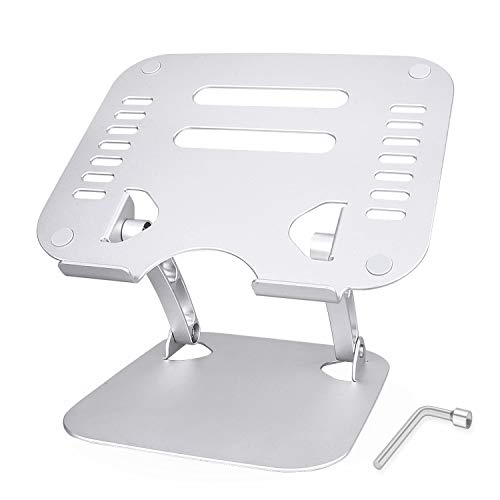 """Jubor Portable Computer Stand, Ergonomic Laptop Stand Aluminum Laptop Mount Foldable Laptop Riser Notebook Holder Stand Compatible for MacBook Air Pro, Dell XPS, Lenovo More 10-17.3"""" Laptops-Silver"""