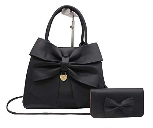 Damen-Handtasche, 2-teiliges Set, große Schleife, PU-Leder, Tragegriff oben, Designer-Tragetasche, Clutch
