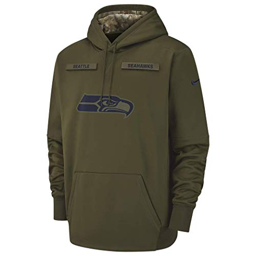 Nike Men's Seattle Seahawks Therma Fit Pullover Salute to Service Hoodie (Medium)