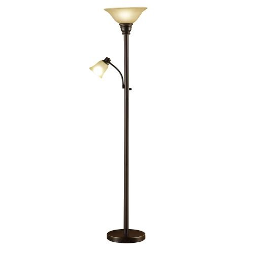 "Catalina Lighting 18223-002 Kerrington Torchiere Floor Lamp with Adjustable Reading Glass Shades, 71"", Oil Rubbed Bronze"